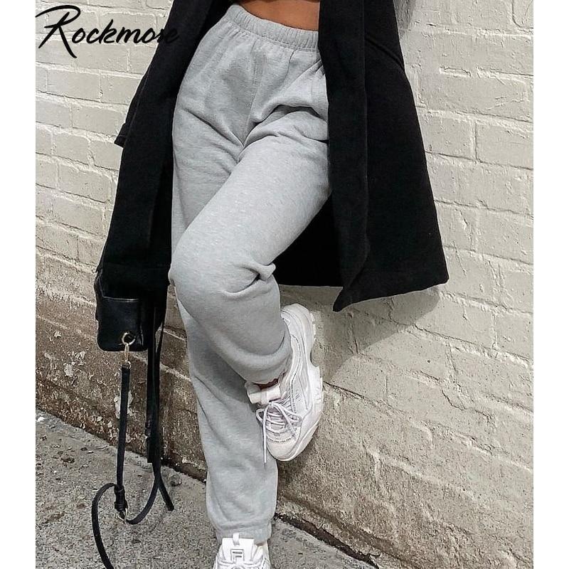 Женские спортивные брюки Rockmore, серые уличные брюки для бега, летние свободные брюки с высокой талией, белые свободные штаны
