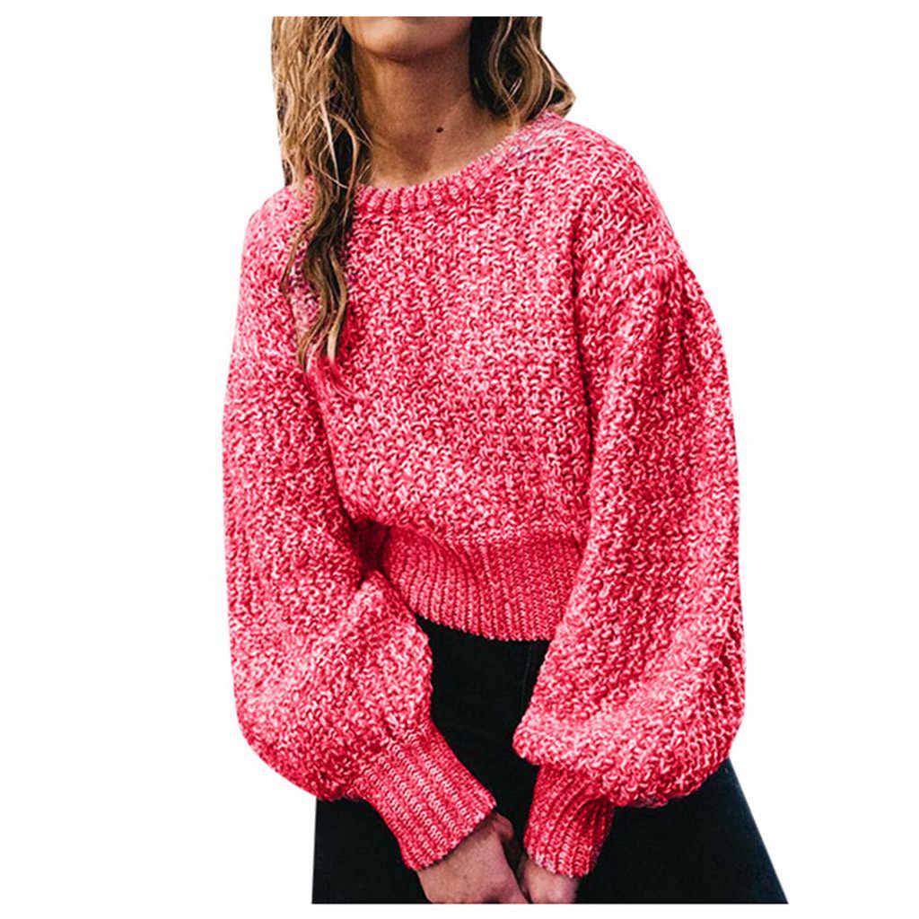 Sólido Otoño Invierno suéter de punto de invierno 2020 abrigo Mujer Tops suéter de cuello alto de Color sólido de manga larga Top