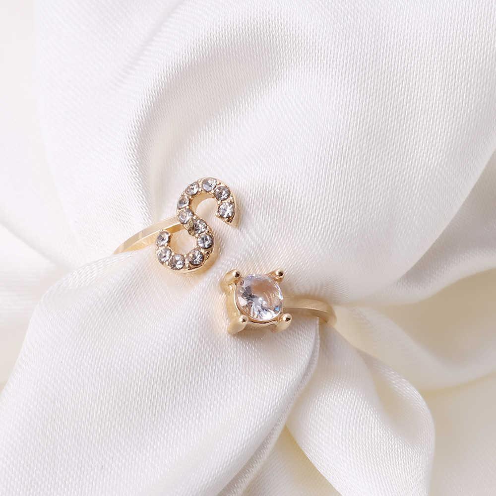 A-Z מכתב זהב צבע מתכת מתכוונן פתיחת טבעת ראשי תיבות שם אלפבית נקבה Creative אצבע טבעות טרנדי המפלגה תכשיטים