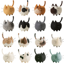 Wool Felt Handmade Animal Craft Toy No Face Cat Siamese Shorthairs Needle Felted Animals Material Package Christmas