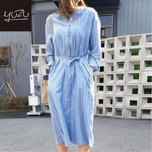 Ligh Blue New 2020 Women Summer Shirt Dress Casual Striped Loose Stand Collar Split Lace Up Cotton And Linen Long Dress