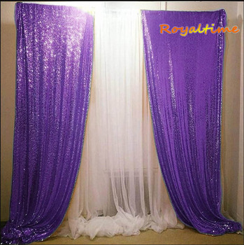 Royaltime Sequin Backdrop Purple Sequin Backdrop Gold Sequin Backdrop Curtain 2 Sequin Backdrop, 2Pcs 2.5x8FT фото