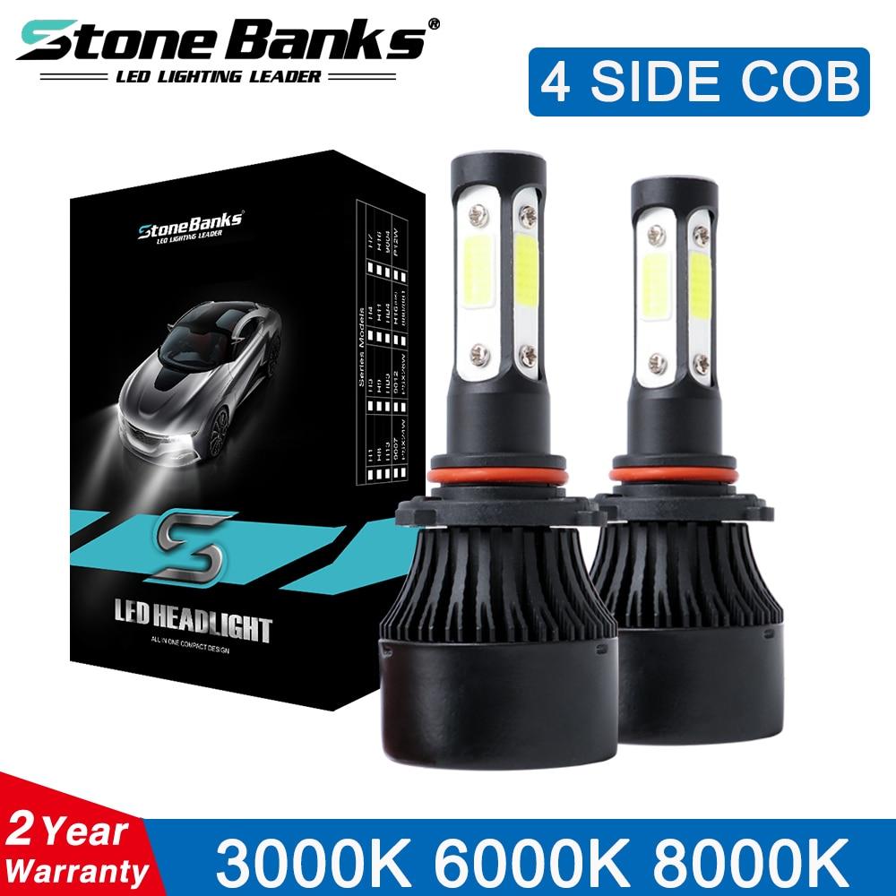 Stone Banks 4 Side 16000 Lumens COB 100W H7 H4 Hi lo H11 H8 HB4 HB3 HIR2 H1 Car LED Headlight Bulbs Auto Lamp Fog Lights 12V 24V
