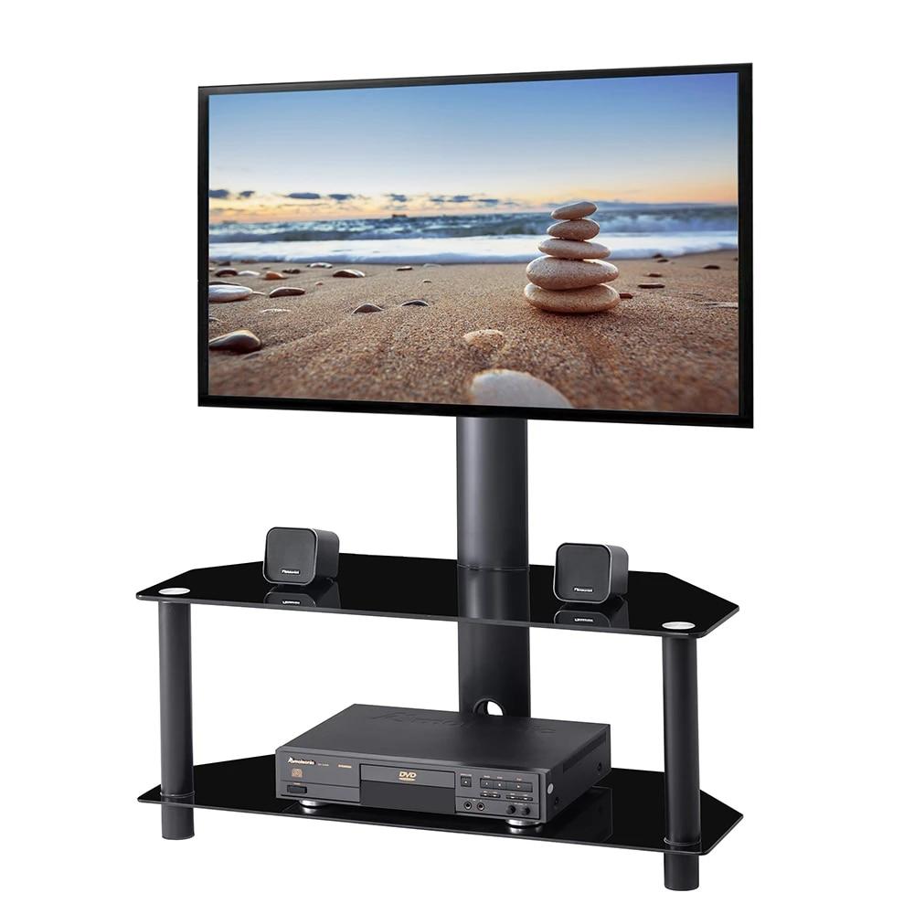 meuble tv pivotant avec support de montage reglable en hauteur pour televiseurs plasma 32 65 pouces etageres en verre trempe a 2 niveaux pour les