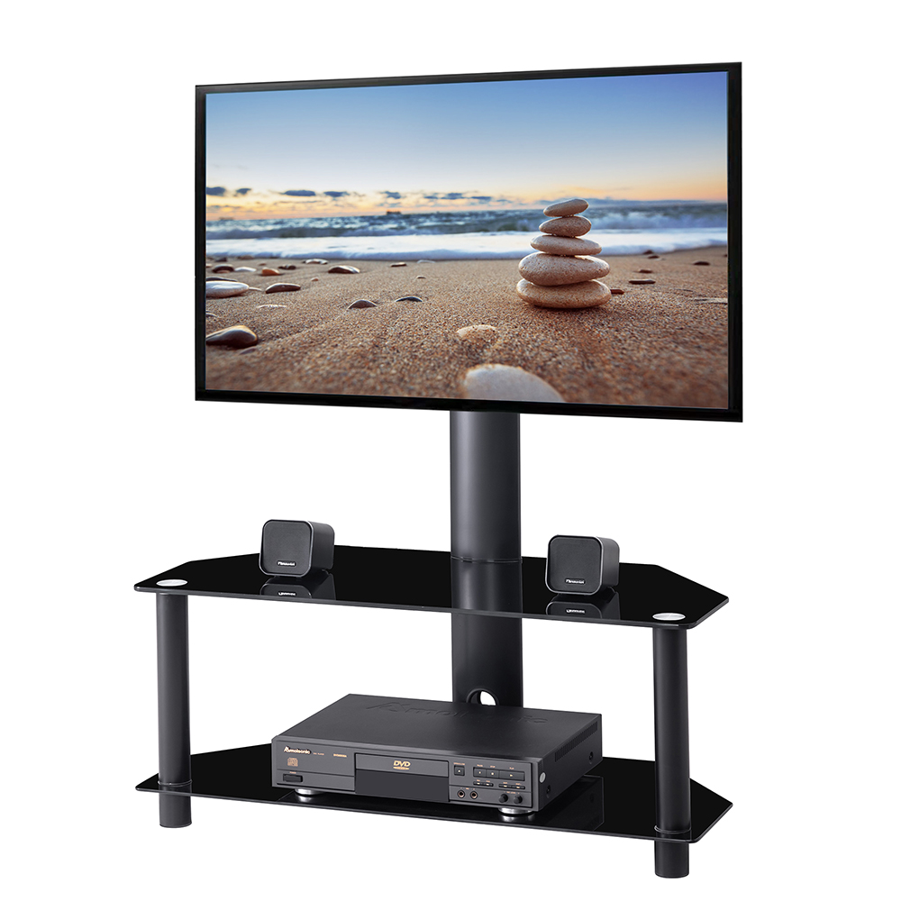 Swivel Floor Tv Stand With Height Adjustable Mount Bracket For 32 65 Inch Plasma Tvs 2 Tier Tempered Glass Shelves For Media New Tv Stands Aliexpress