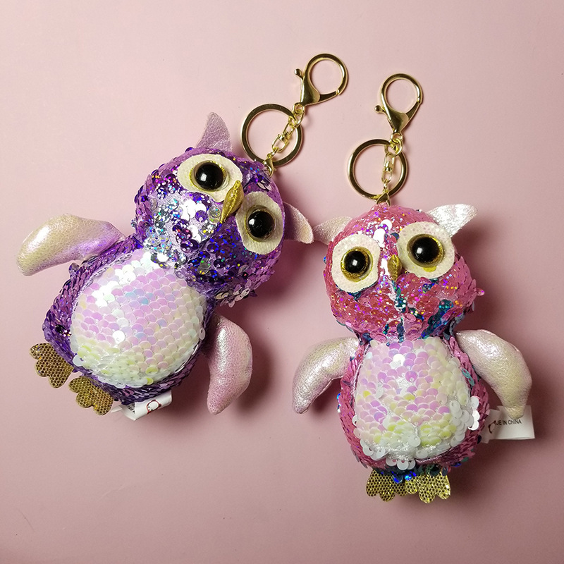 Cute Sequined Owl Animal Plush Toy Keychain Kawaii Plush Pendant Doll Soft Toys Stuffed Animals