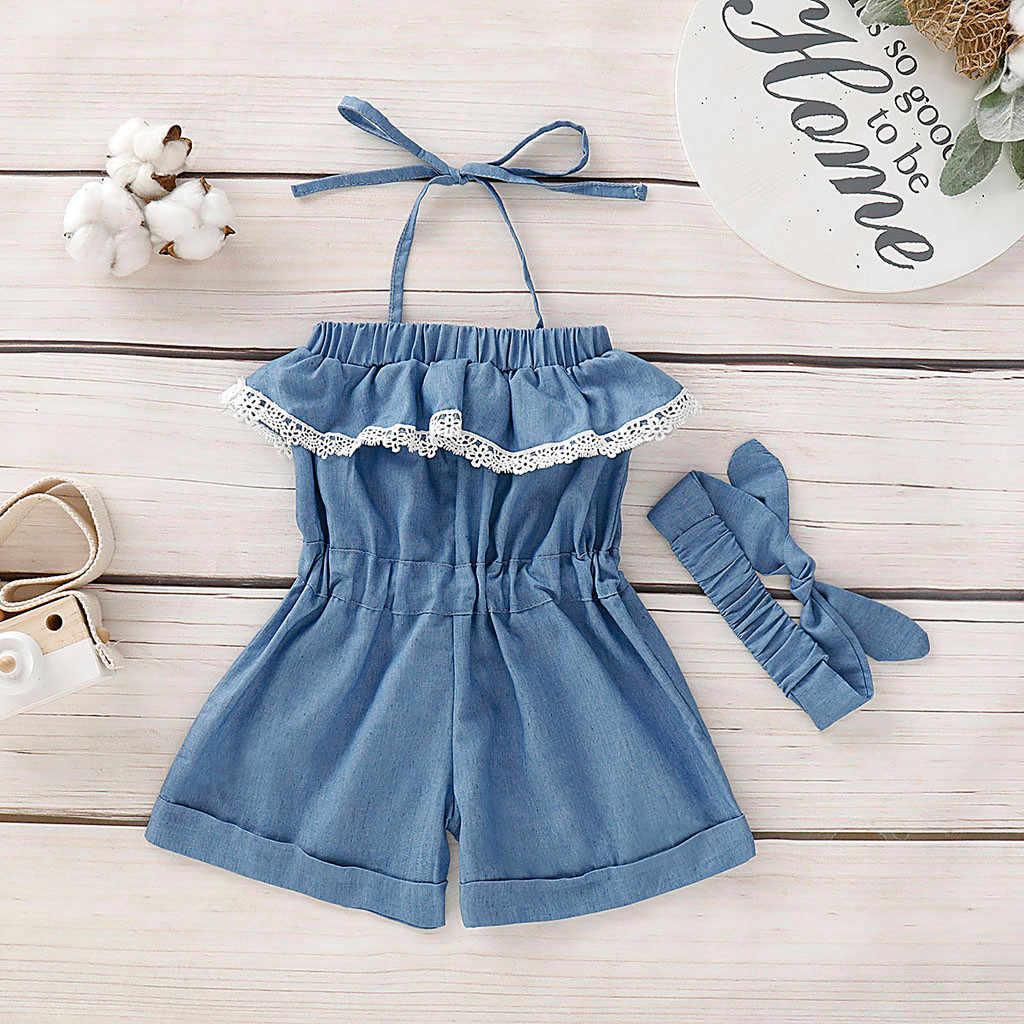 2 pçs da criança denim macacão bebê meninas roupas sexy rendas plissado macacão + borboleta-nó handhead playsuit bebê meninas roupas 2020