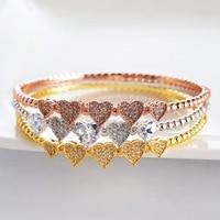 Dubai Jewelry Sets Fashion Luxury 3 Color Shiny AAA Cubic Zirconia Ladies Women Bracelets Bangles And Ring Set