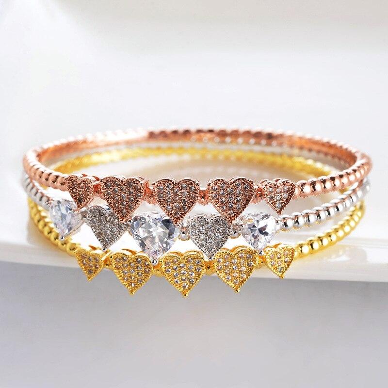 Ensembles de bijoux Dubai mode luxe 3 couleurs brillant AAA cubique zircone dames femmes Bracelets Bracelets et bague ensemble