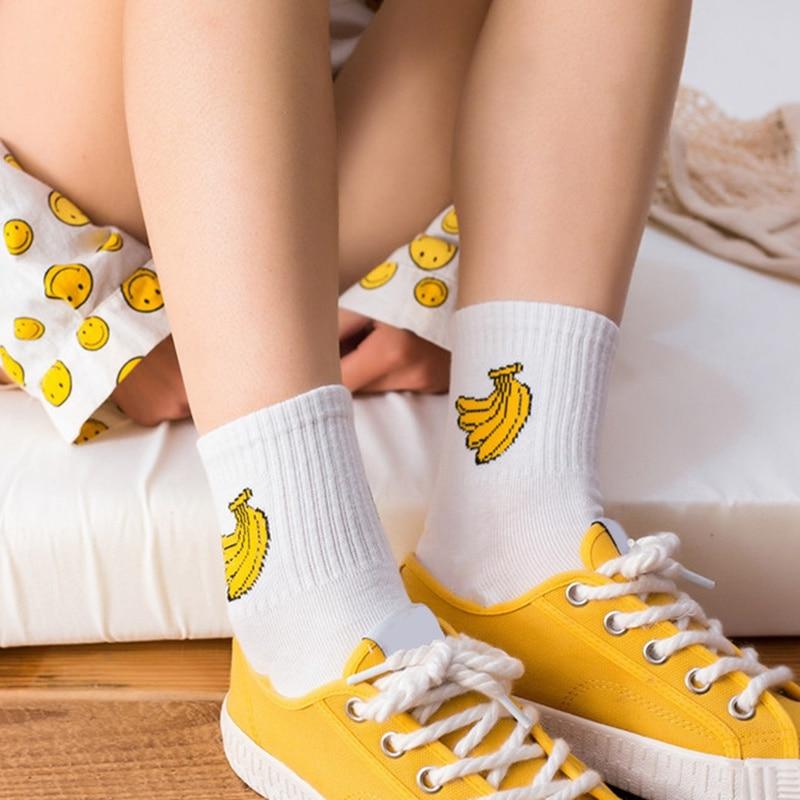 2019 Rocket Dinosaur Banana Patterned Socks Hipster Letter Harajuku Short Cute Cotton Socks Art Female Casual Funny Ankle Socks