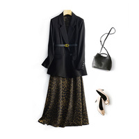 Print Casual Two Piece Set Women Lapel Long Sleeve Black Blazer Strap High Waist Ankle Length Leopard Dress Female Suit