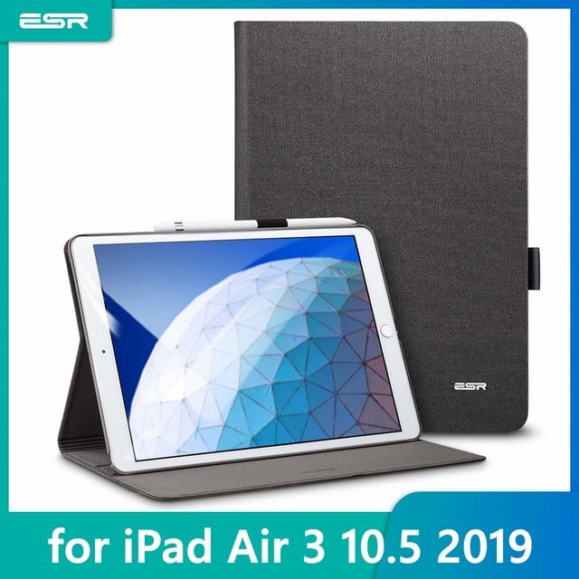 """IPad Air 3 2019 용 ESR 케이스 Simplicity Oxford Cloth iPad Air 3 10.5 """"2019 용 연필 홀더가있는 PU 가죽 스마트 커버 폴리오"""