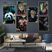 Pintura em tela arte abstrata flor elk tigre elefante leão cartaz e cópias moderno sala de estar parede animal pintura decorativa