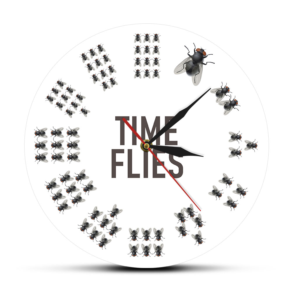 Funny Flies Inspired Time Flies Wall Clock No Numbers Infinite Moments Timeless Modern Pun Joke Entertaining Novelty Wall Watch