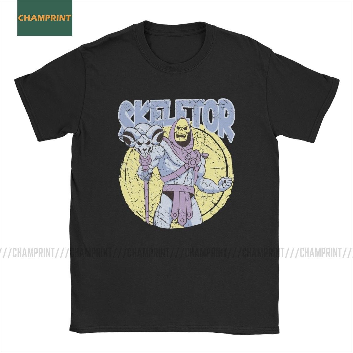 Skeletor He-Man ustaları evren erkekler T gömlek Skeletor karikatür 80s she-ra Beast Tee kısa kollu tişört pamuk parti üstleri