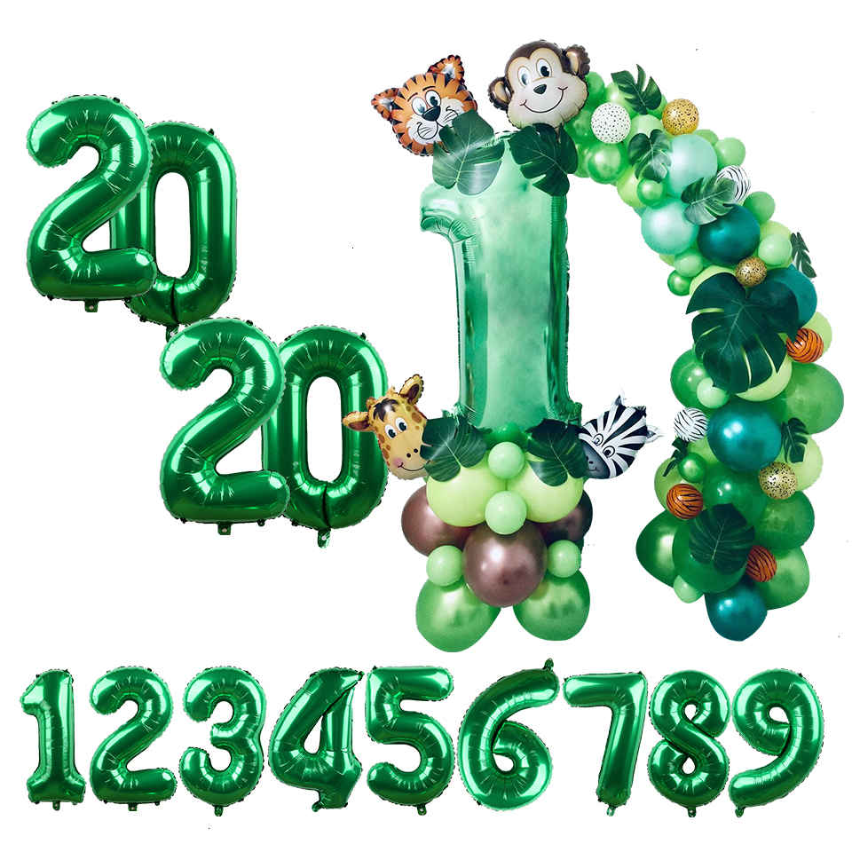Green Palm Leaf Balloon Tropical Hawaiian Party Balloons Digital Balloon Party Balloon Jungle Theme Animal Birthday Balloon