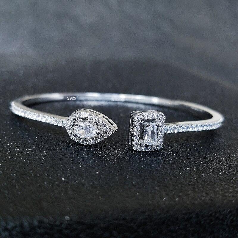 إسورة للنساء عصرية، شكل أفعى الشرير الكمثرى 925, فضية، قابل للتعديل المفتوحة، هدية للذكرى السنوية مجوهرات بالجملة، نوع S5214