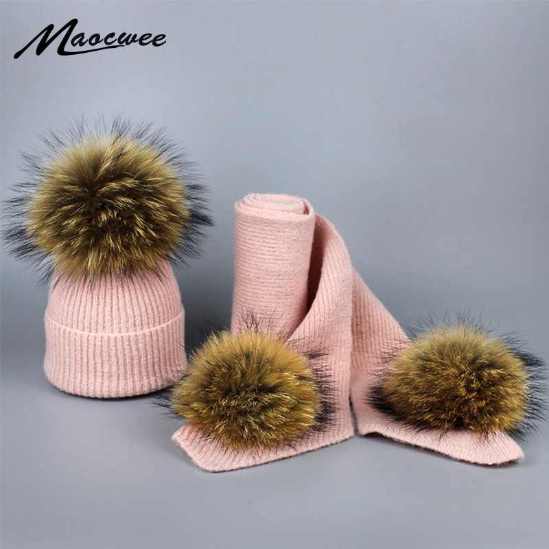 New Real Fur Pom Poms Winter Wool Hat And Scarf Set For Women Children Girl Cute Hat Knitted Warm Beanies Soft Thick Scarves Set