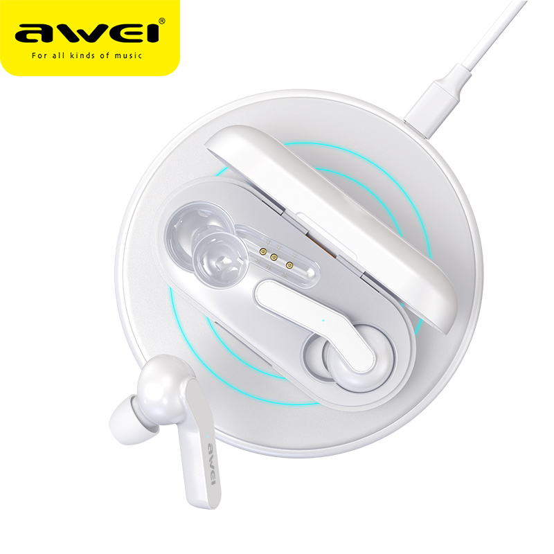 Awei T10C TWS V5.0 Touch Control Mini Wireless Bluetooth Earbuds HD Stereo Sound Noise Cancelling Wireless Charging For Gaming