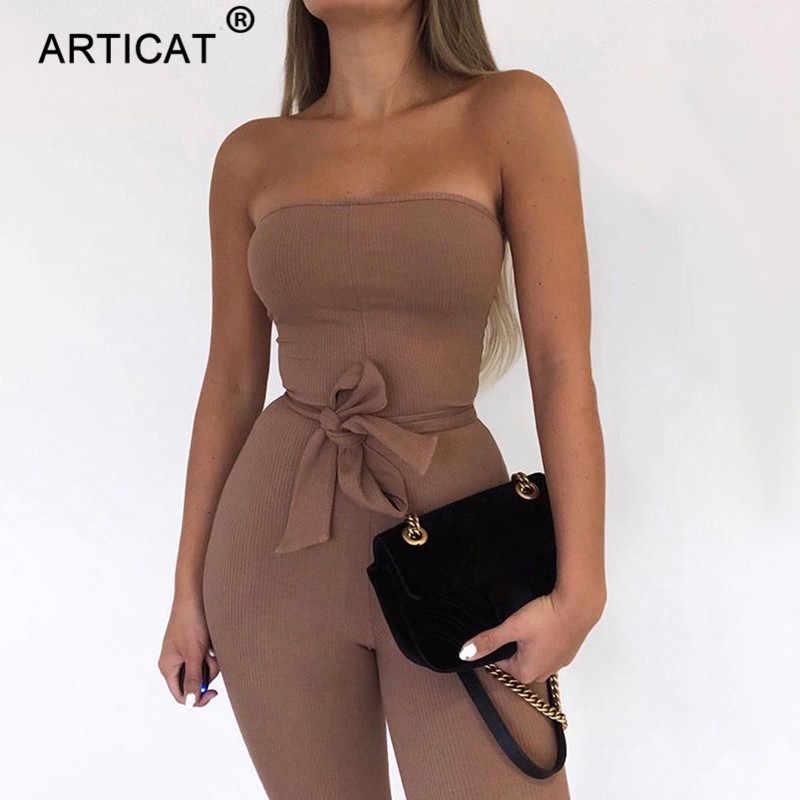 Articat 綿ニットセクシーなスーツの女性オフショルダーボディコンロンパースレディーススーツとベルトファッション長ズボンのジャンプスーツ