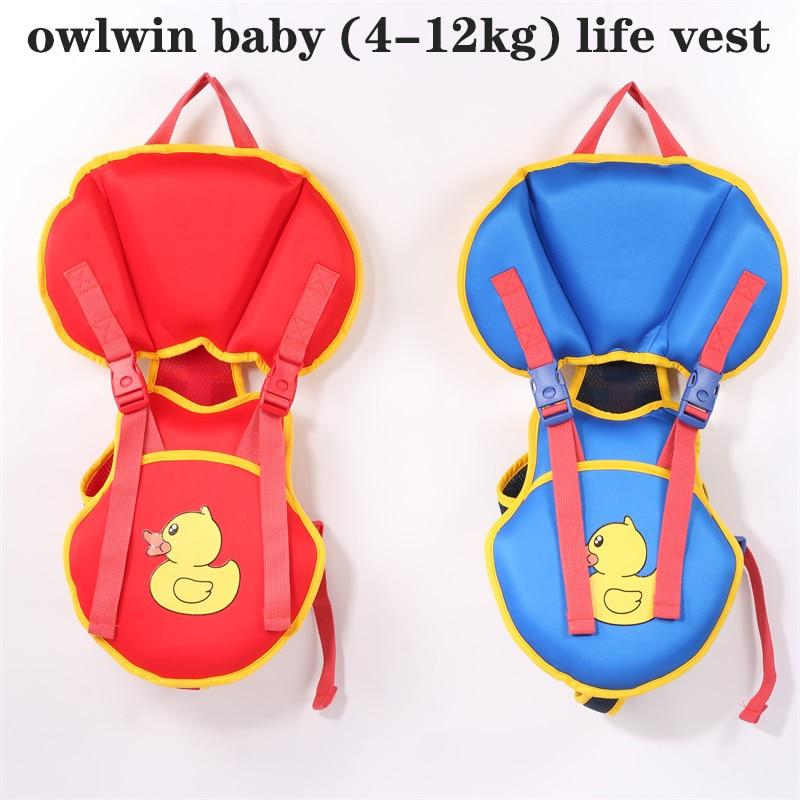 Owlwin Baby Life Vest Life Jacket Polybutadiene Fabric 4-12KG Baby Use Child Puddle Jumper Swimwear Swimsuit Water Buoyancy Suit