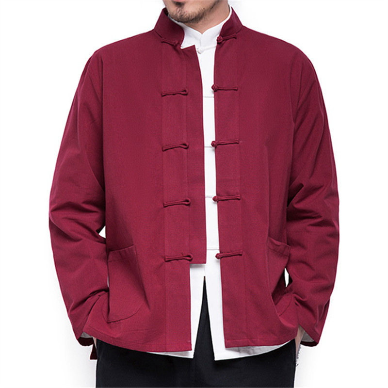 H445d920027854e1c8658a5ae7c504da8P 2019 Autumn New Men's Chinese Style Cotton Linen Coat Loose Kimono Cardigan Men Solid Color Linen Outerwear Jacket Coats M-5XL