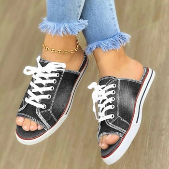 Summer Women Sandals Open Toe Flat Shoes Canvas Ladies Shoes Fish Mouth Shoes Denim Lace-up Sneakers Sandals Zapatos Mujer tanie i dobre opinie Uefezo PŁÓTNO CN (pochodzenie) podstawowe Płaskie z Pokryte RUBBER Niska (1 cm-3 cm) Na co dzień Wsuwane Dobrze pasuje do rozmiaru wybierz swój normalny rozmiar