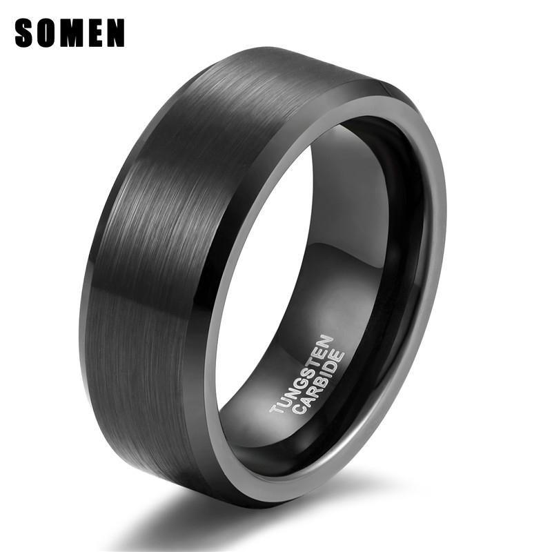 Somen Ring Men Classic 8MM Pure Black Tungsten Ring Brushed Finished - Κοσμήματα μόδας
