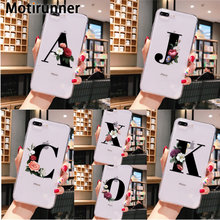 Motirunner Nach schwarz floral alphabet schrift brief telefon fall für iPhone 11 Pro Max für iPhone X XR XS MAX 6 7 8 Plus 5 5c cas(China)
