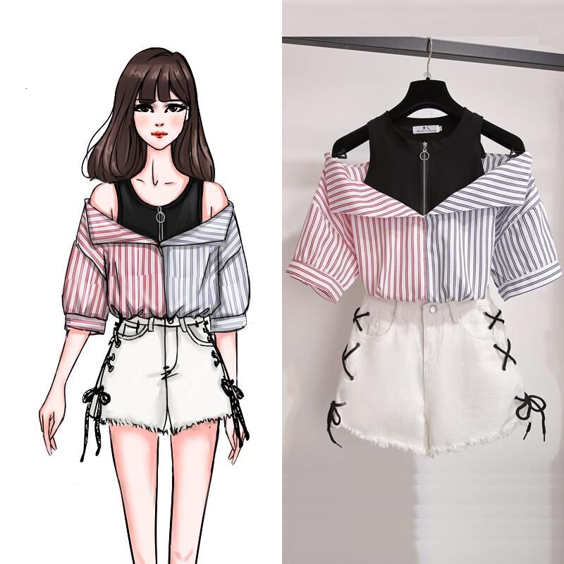 Plus Size 2 Pieces Shorts Sets Summer Sweet Korean Off Shoulder Tops And Shorts 2 Pieces Sets Women Clothing Two Pieces Outfits
