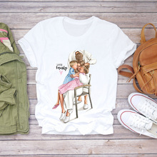 Matching T-Shirt Outfit Parent-Child Supermom Family Short-Sleeved