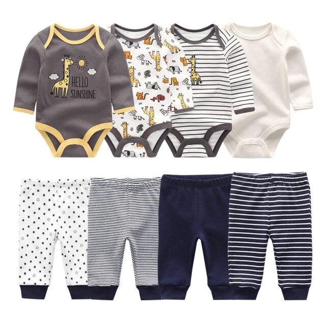 2021 Cotton Baby Girl Clothes Bodysuits+Pants Baby Sets Newborn Clothing Sets Autumn Winter Baby Boy Clothes Roupa de bebe