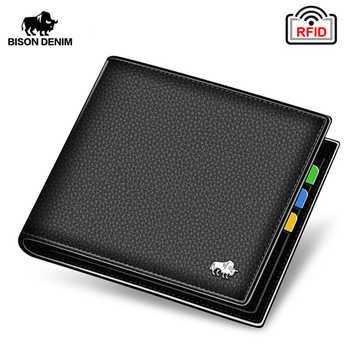 BISON DENIM Genuine Leather Men Wallets Brand Luxury RFID Bifold Wallet Zipper Coin Purse Business Card Holder Wallet N4470 - DISCOUNT ITEM  55% OFF All Category