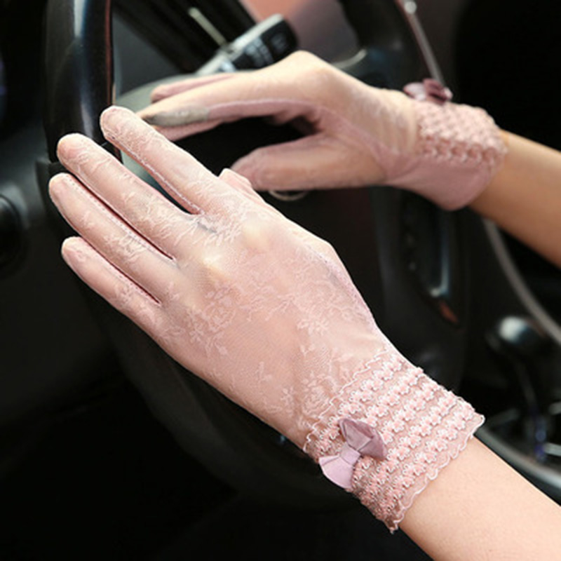 Fashion Sexy Lace Touch Screen Gloves Summer Sun Protection UV Ladies Thin Models Driving Non-slip Visor Fitness Gloves D97