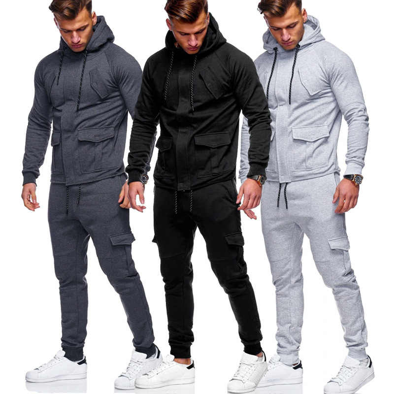 Men's Sports Suit Bodybuilding Clothing Jacket Pants Basketball Tights Clothes Gym Fitness Running Suit Cotton Breathable Sweat