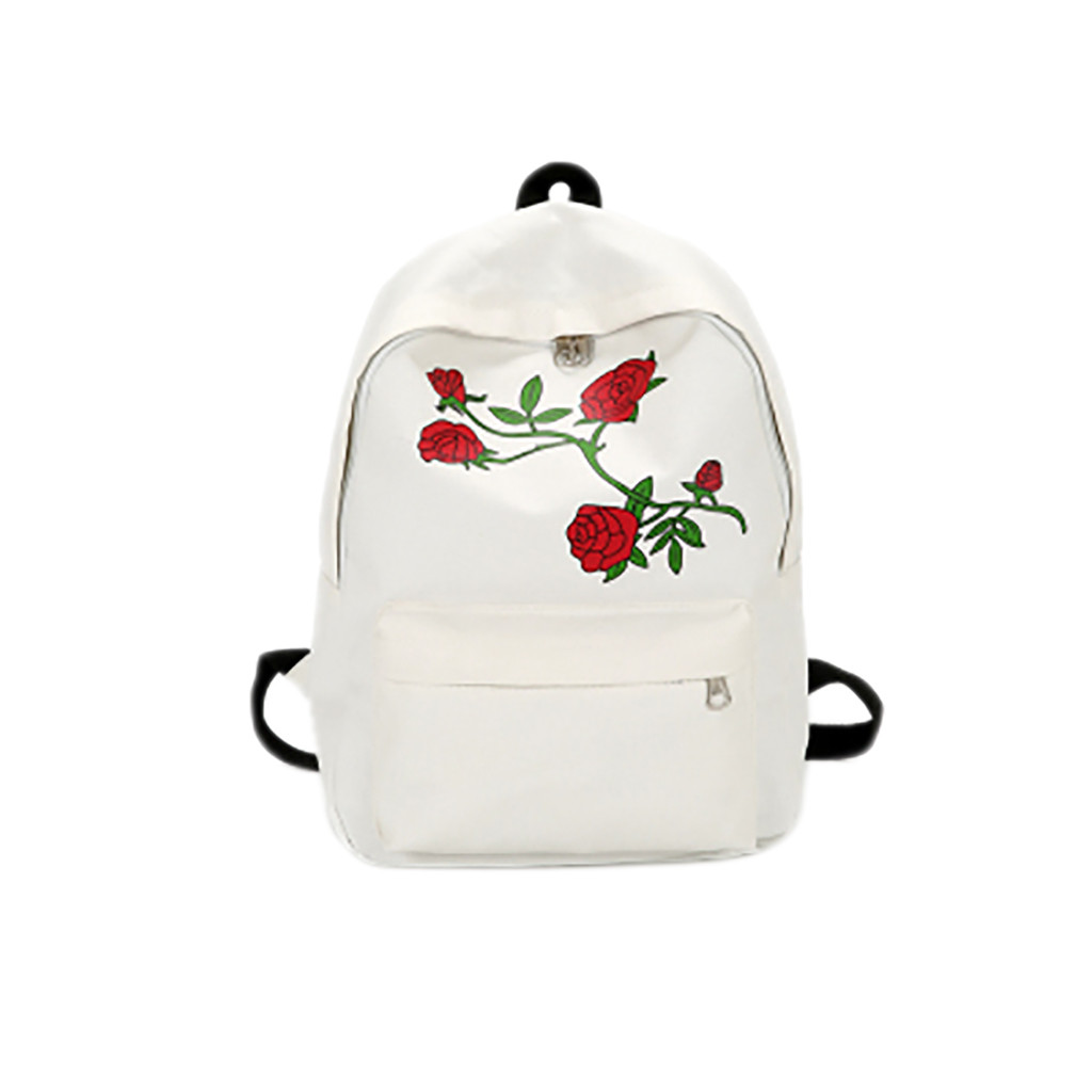 Embroidery Rose School Bag For Teenage Girls  Travel Multifunctional Anti-theft Backpack Bag Women White Shoulder Bag School