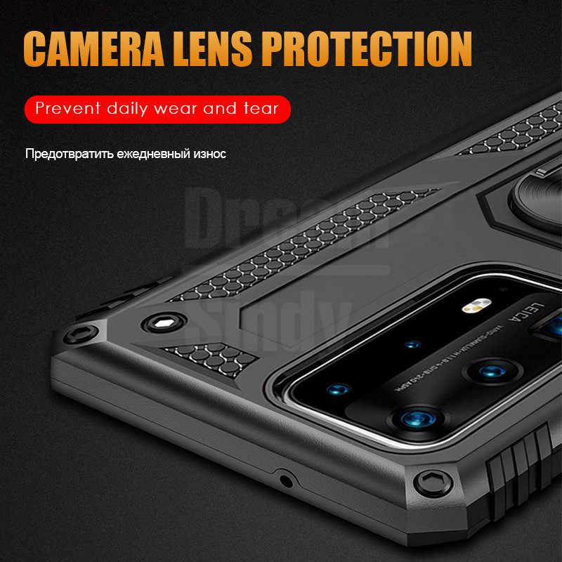 Baju Mewah untuk Huawei P40 Pro PLus P30 Lite P20 Kehormatan 20 10 Guncangan Penuh Cover Mate 30 logam Cincin Magnetik Kasus