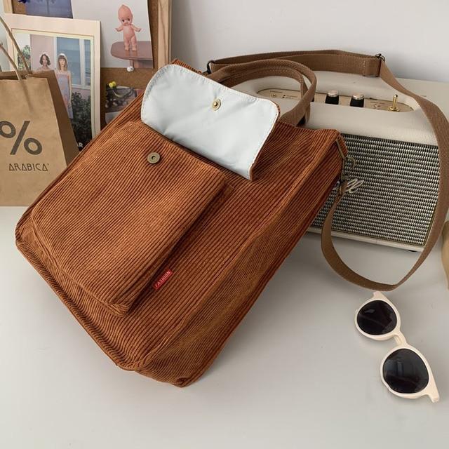 Hylhexyr Corduroy Shoulder Bag Women Vintage Shopping Bags Zipper Girls Student Bookbag Handbags Casual Tote With Outside Pocket 5