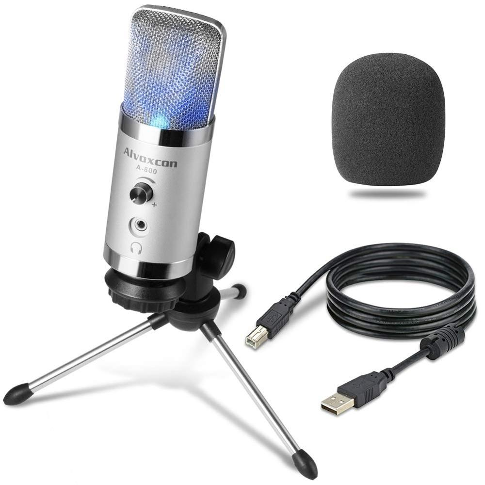 USB Microphone -Alvoxcon Computer Mic with Headphone Monitor Jack for Mac & Windows PC, Laptop, Podcasting, Studio Recording, St(China)