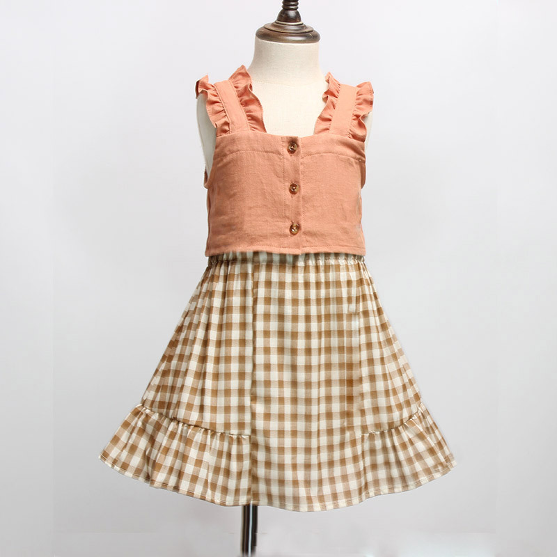 Girl Clothes  Korean 2 Pic A Set  Casual  Cotton  Plaid Lattice Sling  Skirt  Sleeveless Aesthetic