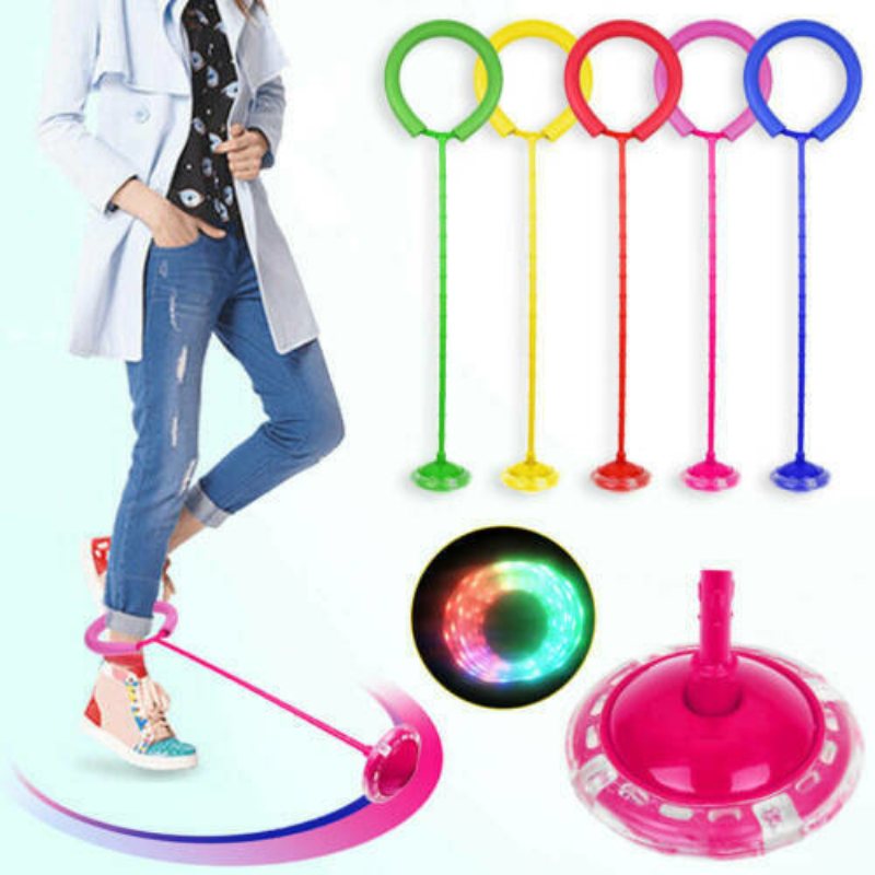 Kids Toys Child Plastic Sport Toys Exquisite Fun LED Toy Flashing Jumping Ring Colorful Ankle Skip Jump Ropes Sports Swing Ball