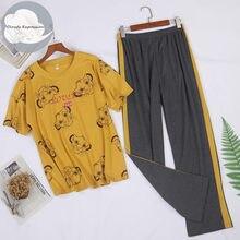 Pijama de verão conjuntos de pijama de manga curta dos desenhos animados algodão preguiçoso vento pijamas femininos M-3XL tamanho mujer moda loungewear