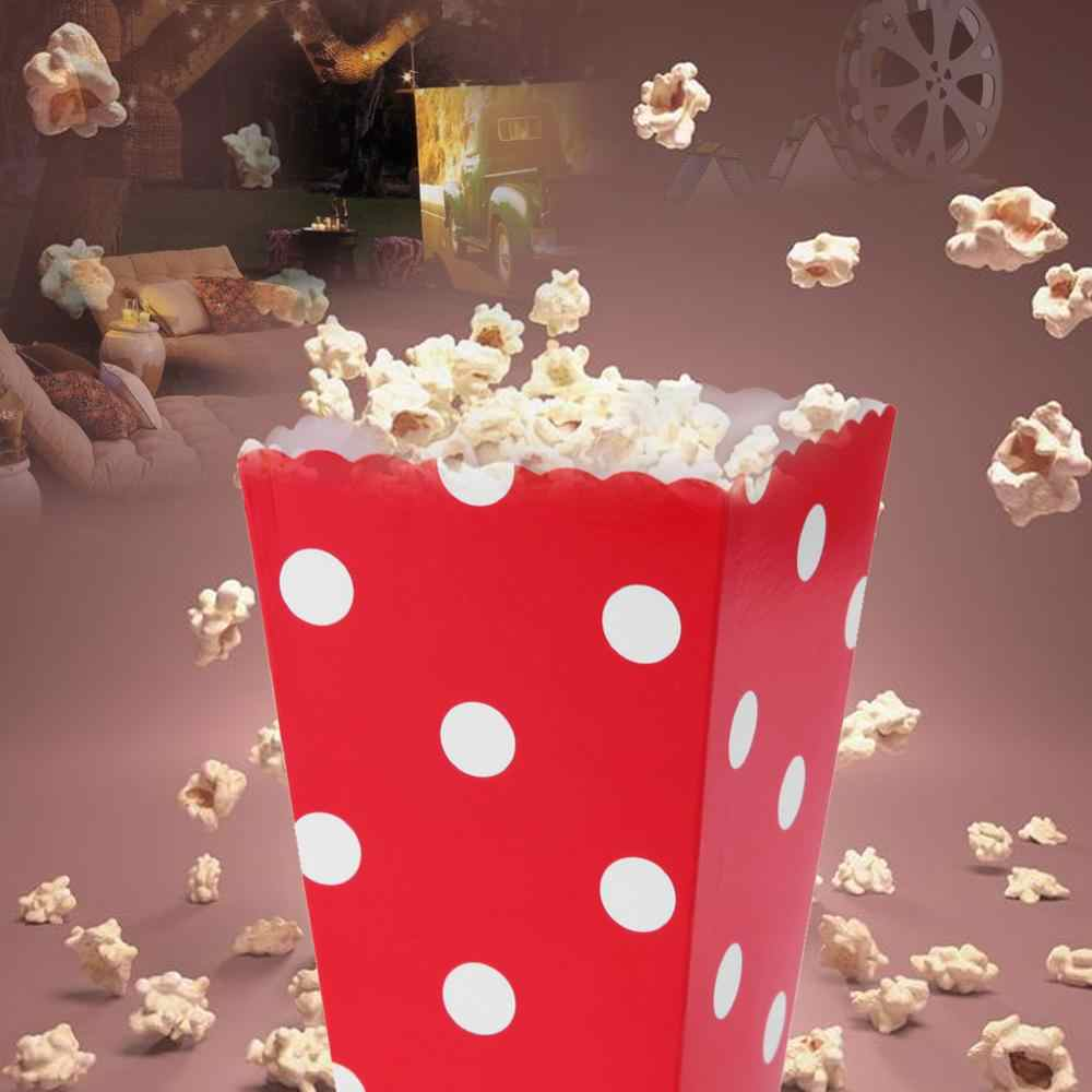 12Pcs לטובת ממתק פופקורן Sanck קופסות חתונה אספקת גל עיגולים תינוק מקלחת פסים חג המולד יום הולדת מסיבת מתנות תיבה