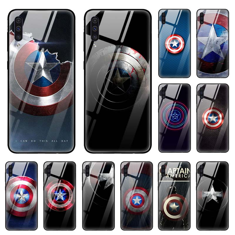 Marvel Captain America Shield <font><b>Case</b></font> for <font><b>Samsung</b></font> Galaxy A70 <font><b>A50</b></font> M51 51 A71 5G A40 A20 A10 A41 A31 M31 M21 <font><b>Glass</b></font> Phone Coque Capas image