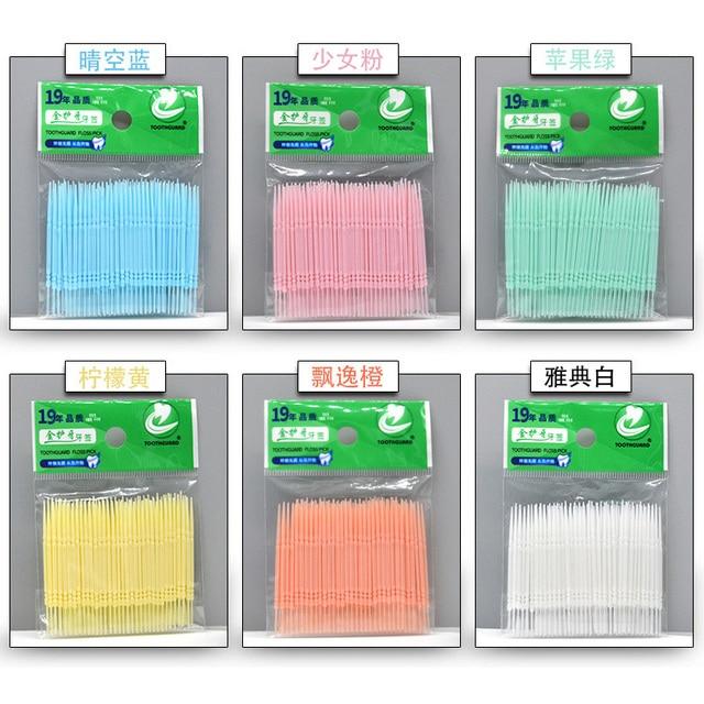 100pcs/bag Double Head Dental Floss Interdental Toothpick Brush Brushes Teeth Sticks Dental Oral Care Toothpicks Floss Pick