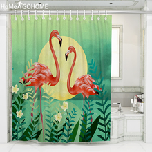 Tropical Shower Curtains Anime Flamingo Bath For Bathroom Plant Leaves 3D Waterproof Boho Curtain Green