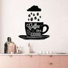 Кофе всегда идея хорошая Цитата наклейки на стену винил домашний
