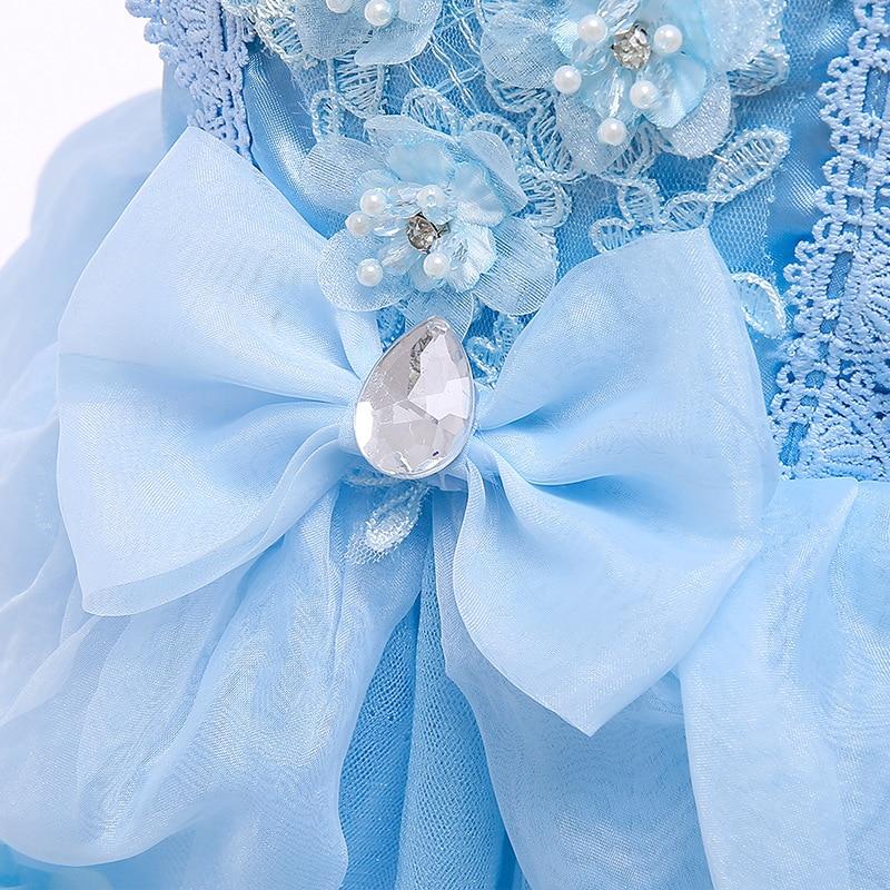 VOGUEON Luxury Cinderella Dress Girls Beading Applique Flower Princess Dresses Girl Lace Mesh Birthday Party Fancy Kids Costume 5