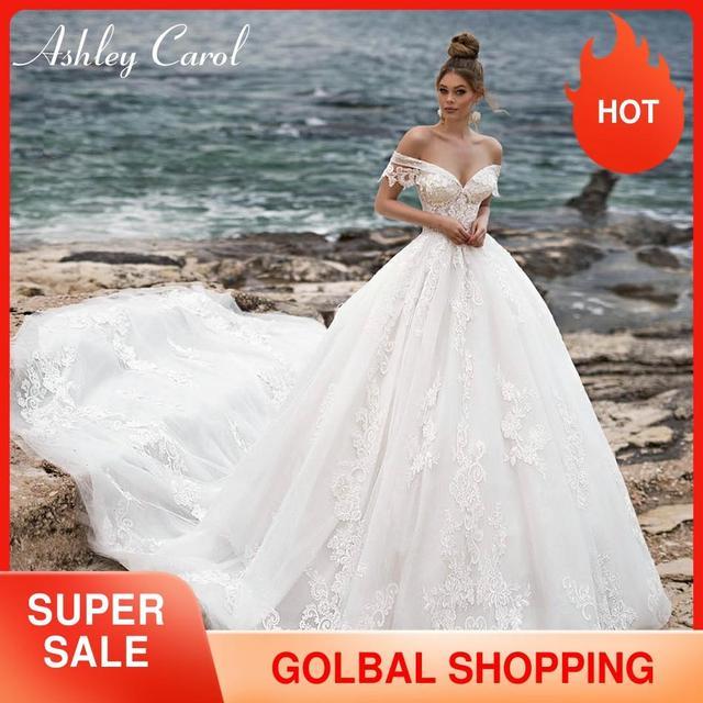 Ashley Carol line suknia ślubna 2020 Sweetheart zroszony aplikacje zasznurować suknie panny młodej katedra Vestido De Noiva De Princesa