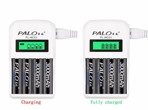 Image 2 - PALO LCD Display 4 Slots Smart rechargeable battery charger For AA  AAA Ni Cd Ni Mh Rechargeable Batteries